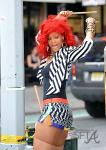 Rihanna on set in NYC