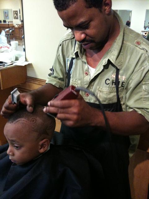 Monica's son Lil Rocko gettin a fresh cut