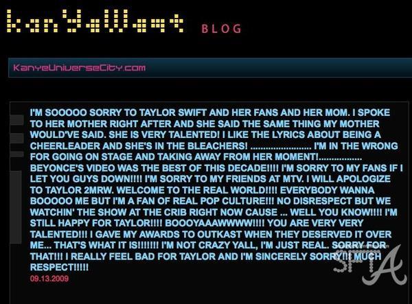 Kanye Apology to Taylor Swift
