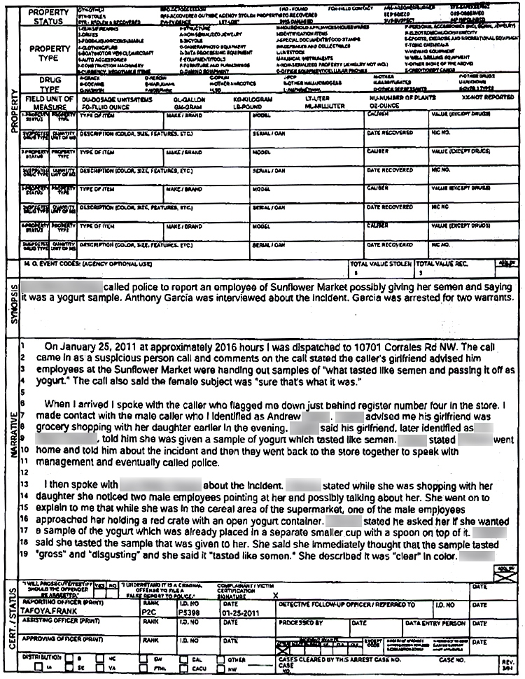 yogurt sample police report – Sample of a Police Report