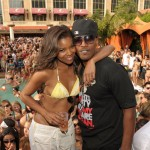 Gabrielle Union & Jamie Foxx at TAO Beach on April 2, 2011 in Las Vegas, Nevada.