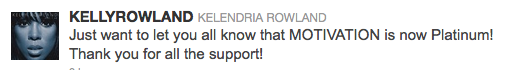 Kelly Rowland Tweet
