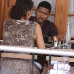 Usher Raymond having lunch with a friend at Pastis Restaurant in NYC