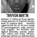 Trayvon Martin Card of Thanks