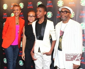 Spike-and-family-on-red-carpet2-600x488