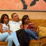Obama and daughters watch from backstage