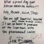 Beyonce Superbowl 2013 letter