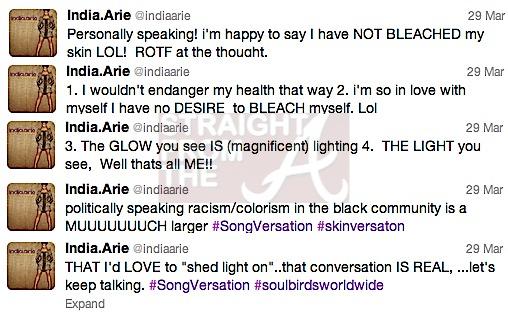 india arie tweets skin bleach