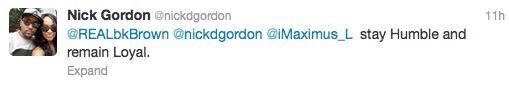 Nick Gordon Tweet