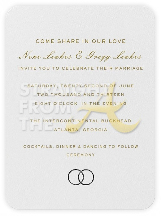 ... Nene Leakes Wedding Invitation + Gift Registries Revealed! [PHOTOS