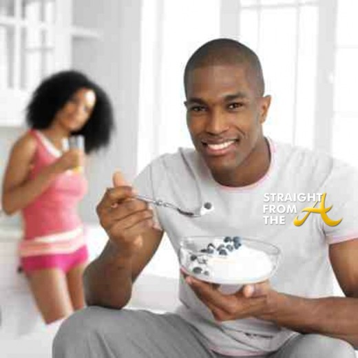 black man eating