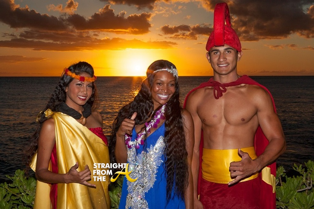 marlo hampton poses with locals during the luau on the