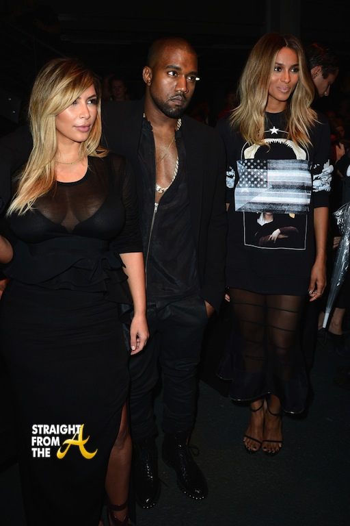 Kim K Kanye Ciara Givenchy Front Row Paris Fashion Week PFW 2013 1