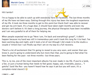 Mariah Facebook message