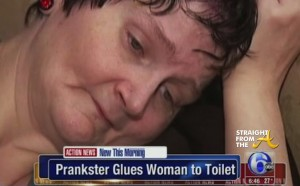 Woman Glued To Toilet