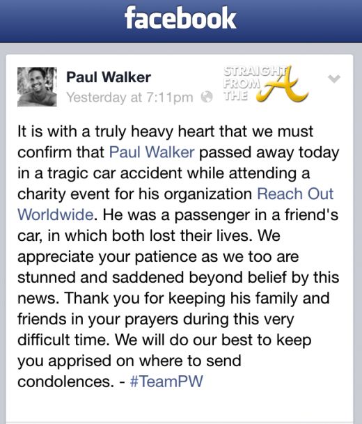 Paul Walker Facebook
