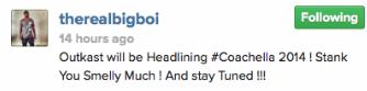 Big Boi Tweet 2014