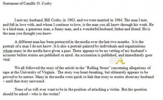 Camille Cosby Statement - StraightFromTheA