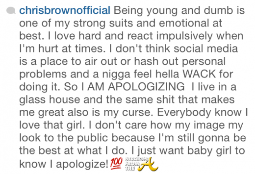 Chris Brown Apology - StraightFromTheA