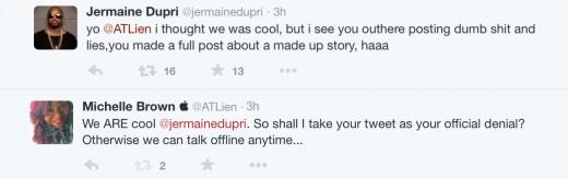 Jermaine Dupri Michelle ATLien Brown Tweets 2015