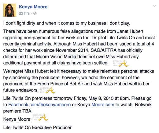 Kenya Moore Janet Hubert Response