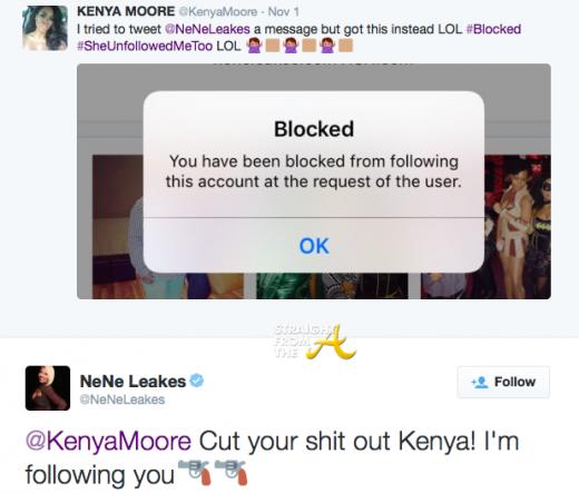 Kenya Moore vs Nene Leakes Twitter