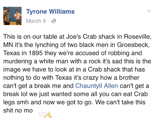 Tyrone Williams Joes Crab Shack 2016
