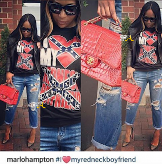 Marlo Hampton Confederate Flag T-Shirt 2016 2