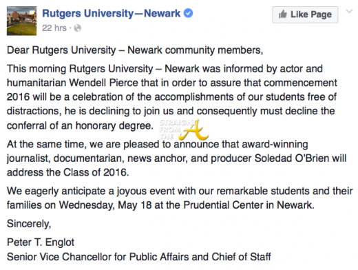 Wendell Pierce Rutgers University Facebook
