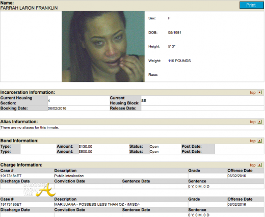 Farrah Franklin Arrest 2016