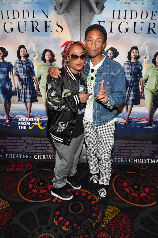 "ATLANTA, GA - NOVEMBER 16: Da Brat and Pharrell Williams attends ""Hidden Figures"" advanced screening hosted by Janelle Monae & Pharrell Williams at Regal Cinemas Atlantic Station Stadium 16 on November 16, 2016 in Atlanta, Georgia. (Photo by Paras Griffin/Getty Images for 20th Century Fox)"