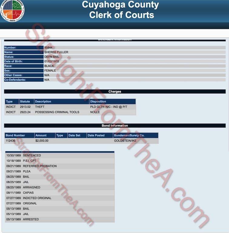 Sheree Fuller Whitfield Criminal Record Cuyahoga County Ohio