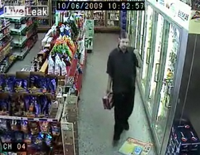 drunk man in convenience store
