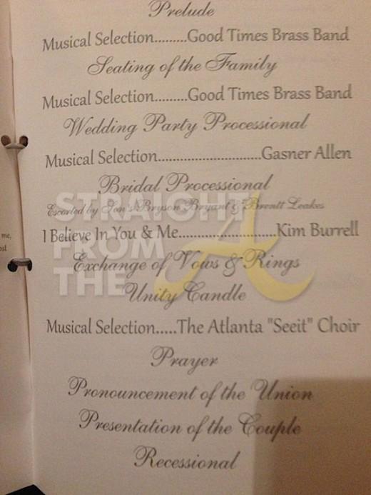 Nene Greg Leakes Wedding Program 1