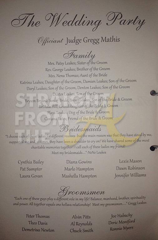 inside nene and greg leakes wedding program sfta 1