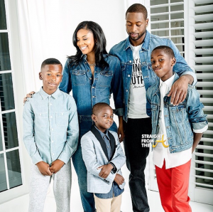 D Wade family photo gabrielle union and sons