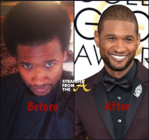 Usher Raymond Before and After haircut 2014