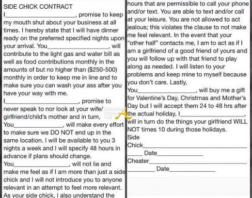 Side Chick Contract StraightFromTheA