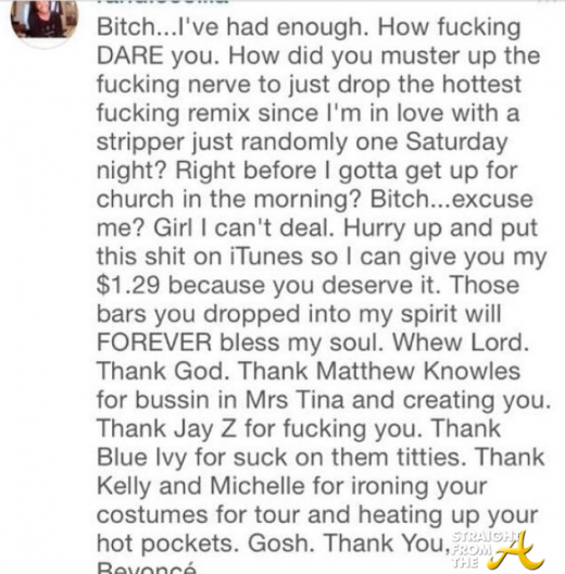 Beyonce Flawless Remix Comment 2