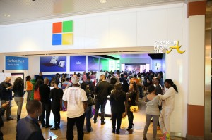 A shot of the Microsoft store prior to showtime