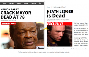 TMZ Crack Mayor vs. Heath Ledger Crack Death
