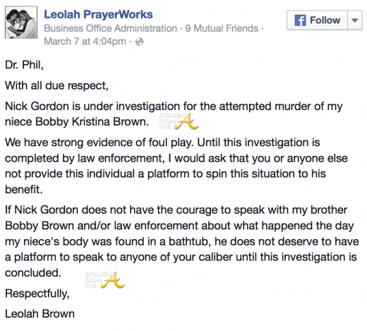 Leolah Brown Facebook - Nick Gordon