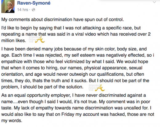 Raven Symone Facebook Apology