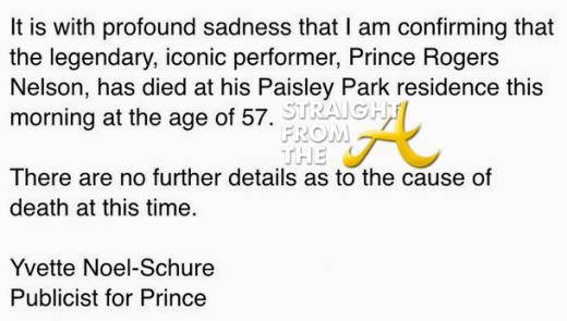 Prince Dies at 57 2016 - Publicist Statement