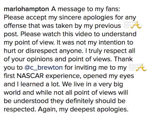 marlo hampton apology 2016