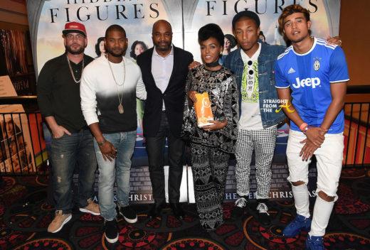 L-R) DJ Drama, Usher Raymond, Kwanza Hall, Janelle Monae, Pharrell Williams, and Kap G